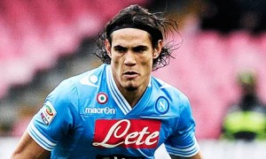 Napoli's forward Edinson Cavani runs